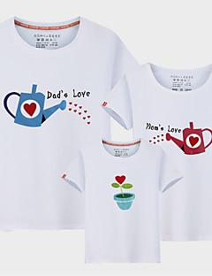 billige Sett med familieklær-3 deler Barn Familie Look Ensfarget / Bokstaver Kortermet T-skjorte