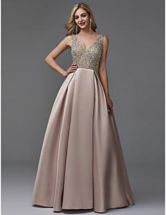 Χαμηλού Κόστους Βραδινά Φορέματα-Γραμμή Α Λαιμόκοψη V Μακρύ Σατέν / Με πούλιες Χοροεσπερίδα / Επίσημο Βραδινό Φόρεμα με Χάντρες με TS Couture®