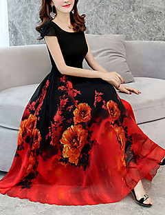 Χαμηλού Κόστους Πώληση-Γυναικεία Μεγάλα Μεγέθη Εξόδου Φαρδιά Swing Φόρεμα Μίντι Λαιμόκοψη U