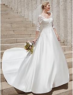 billiga A-linjeformade brudklänningar-A-linje Scoop Neck Hovsläp Satäng Bröllopsklänningar tillverkade med Applikationsbroderi av LAN TING BRIDE® / Genomskinliga