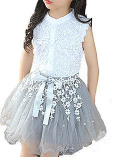 cheap Girls' Clothing-Girls' Daily Patchwork Clothing Set, Rayon Polyester Summer Sleeveless Lace White