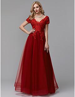 billige Høst 2013-A-linje V-hals Gulvlang Blonder / Tyll Skoleball / Formell kveld Kjole med Appliqué av TS Couture®