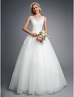billiga Balbrudklänningar-Balklänning Prydd med juveler Golvlång Spets / Tyll Bröllopsklänningar tillverkade med Bård / Applikationsbroderi av LAN TING BRIDE®