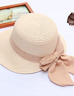 billige Hatter til damer-Dame Aktiv / Ferie Stråhatt - Drapering, Ensfarget