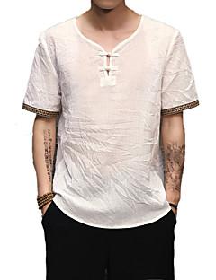 Χαμηλού Κόστους Feel Oriental-Ανδρικά T-shirt Βασικό / Κομψό στυλ street - Λινό Μονόχρωμο Λαιμόκοψη V / Κοντομάνικο / Μακρύ