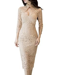 baratos Vestidos de Festa-Mulheres Moda de Rua / Sofisticado Tubinho / Bainha Vestido - Renda / Vazado, Sólido Médio
