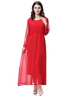 tanie Sukienki-Damskie Wyjściowe Szyfon / Swing Sukienka - Solidne kolory Midi