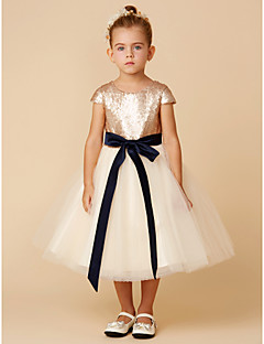cheap Flower Girl Dresses-A-Line Knee Length Flower Girl Dress - Tulle / Sequined Short Sleeve Scoop Neck with Sequin / Bow(s) / Sash / Ribbon by LAN TING BRIDE®