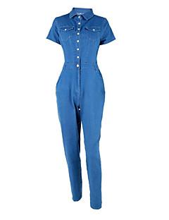 billige Jumpsuits og sparkebukser til damer-Dame Ut på byen Kjeledresser - Ensfarget Skjortekrage Sluk til storfisk