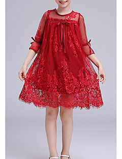 baratos Vestidos de Renda para Meninas-Infantil Para Meninas Doce Sólido Meia Manga Vestido Vermelho
