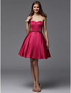 baratos Vestidos de Formatura-Linha A Sem Alças Curto / Mini Cetim Coquetel Vestido com Faixa / Fita / Pregas de TS Couture®