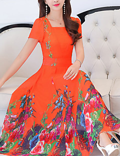 fa26680e662 Women s Plus Size Going out Swing Dress - Floral Print Square Neck Summer  Black Orange Navy Blue XXL XXXL XXXXL