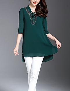 billige Bluse-Dame - Ensfarvet / Blomstret Vintage / Basale Bluse