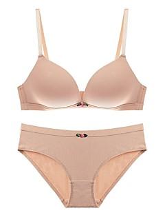 billige Dame-brystholdere-Kvinner Sexy Sett med truse og BH Dytt opp / Uten bøyle / Blonde-BH 3/4 Kop - Ensfarget