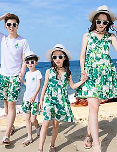 billige Sett med familieklær-Familie Look Grunnleggende Strand Geometrisk Kortermet Kjole