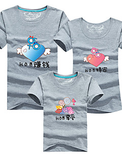 billige Sett med familieklær-3 deler Barn Familie Look Ensfarget / Fargeblokk Kortermet T-skjorte