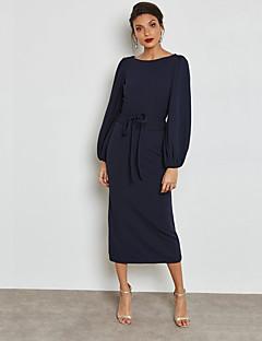Χαμηλού Κόστους Νέες Αφίξεις-Γυναικεία Κομψό στυλ street / Εκλεπτυσμένο Θήκη Φόρεμα - Μονόχρωμο, Με Κορδόνια Μακρύ