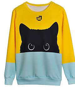 baratos Abrigos e Moletons Masculinos-Homens Activo / Básico Calças - Animal Gato, Estampado Amarelo / Manga Longa / Primavera / Verão