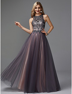 cheap Special Occasion Dresses-A-Line Jewel Neck Floor Length Tulle Keyhole Prom / Formal Evening Dress with Beading by TS Couture®
