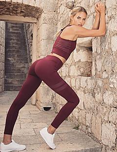 billiga Träning-, jogging- och yogakläder-Dam Yoga Byxor med topp - Svart, Vinröd, Mörk Marin sporter Hög midja Cykling Tights / Leggings / Magtröja Löpning, Fitness, Gym Sportkläder Kompression, Svettavvisande, Butt Lift Elastisk