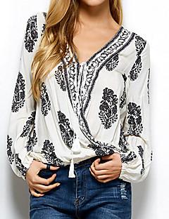 billige Skjorte-V-hals Dame - Blomstret Skjorte