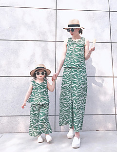 billige Sett med familieklær-Mamma og meg Blomstret Ermeløs Tøysett