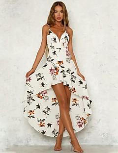 baratos Vestidos de Festa-Mulheres Boho Chifon / balanço Vestido - Estampado, Floral Assimétrico
