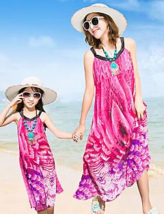 billige Sett med familieklær-Mamma og meg Blomstret Ermeløs Kjole