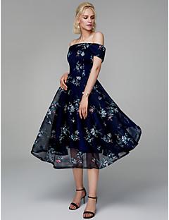 billige Mønstrede og ensfargede kjoler-A-linje Løse skuldre Telang Chiffon / Blonder Cocktailfest / Skoleball Kjole med Broderi av TS Couture®
