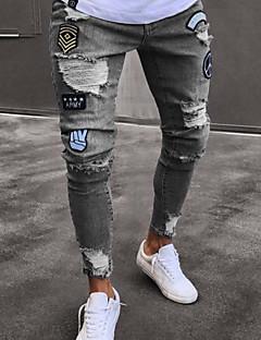 billige Herrebukser og -shorts-Herre Bomull Jeans Bukser Geometrisk
