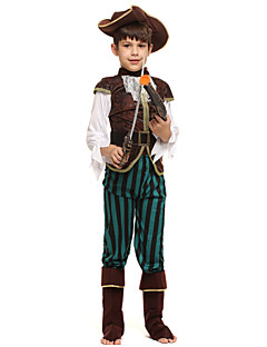 billige Halloweenkostymer-Pirat Kostume Gutt Barn Halloween Halloween Karneval Barnas Dag Festival / høytid Drakter kaffe Ensfarget Halloween