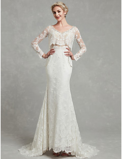 billiga Brudklänningar-Åtsmitande V-hals Svepsläp Spets / Tyll Bröllopsklänningar tillverkade med Spets av LAN TING BRIDE®