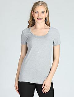 billige Dametopper-Skinny T-skjorte Dame - Ensfarget Grunnleggende / Kortermet / Vår / Sommer