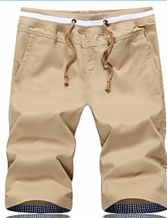 billige Herrebukser og -shorts-Herre Grunnleggende Store størrelser Bomull Tynn Chinos Bukser - Ensfarget Svart
