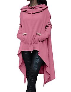 baratos Moletons com Capuz e Sem Capuz Femininos-Mulheres Moda de Rua / Sofisticado Moletom - Pregueado, Sólido