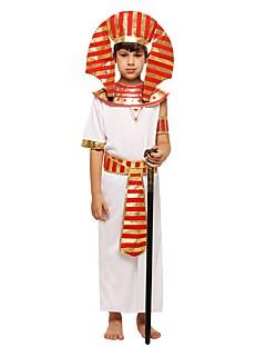 billige Halloweenkostymer-Farao Kostume Gutt Barn Halloween Halloween Karneval Barnas Dag Festival / høytid Drakter Hvit Ensfarget Halloween