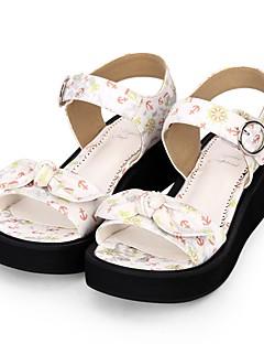 Χαμηλού Κόστους Μόδα Λολίτα-Παπούτσια Γλυκιά Λολίτα Princess Lolita Τακούνι Σφήνα Παπούτσια Μοτίβο / Φιόγκος 5 cm CM Λευκό / Μπλε Για PU