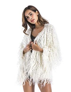 billige Kvinder Overtøj-Kvast, Dame Ensfarvet Cloak / Capes