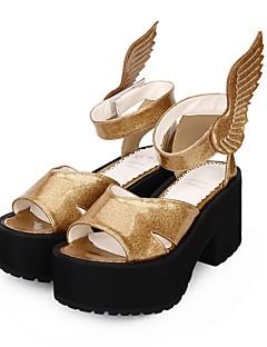 Χαμηλού Κόστους Μόδα Λολίτα-Παπούτσια Λολίτα Πανκ Πανκ Τακούνι Σφήνα Παπούτσια Μονόχρωμο 8 cm CM Χρυσαφί Για PU
