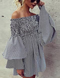 Χαμηλού Κόστους Ώμοι Έξω-Γυναικεία Βασικό / Κομψό Φουσκωτό Μανίκι Σιφόν Φόρεμα - Ριγέ, Με Κορδόνια Πάνω από το Γόνατο