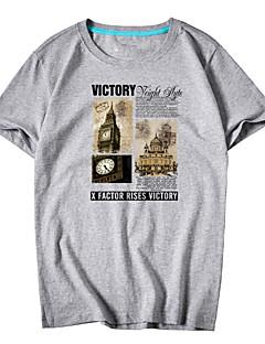 billige Herre Toppe-Rund hals Herre - Geometrisk / Bogstaver Bomuld Plusstørrelser T-shirt / Kortærmet