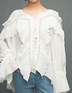 billige Bluse-V-hals Dame - Ensfarvet I-byen-tøj Bluse