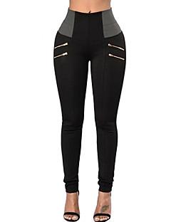 baratos Leggings para Mulheres-Mulheres Diário Básico Legging - Sólido / Estampa Colorida Cintura Alta