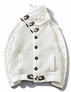 tanie Męskie swetry i swetry rozpinane-Męskie Codzienny Solidne kolory Długi rękaw Szczupła Regularny Sweter rozpinany, Golf Biały / Czarny / Szary XXL / XXXL / 4XL