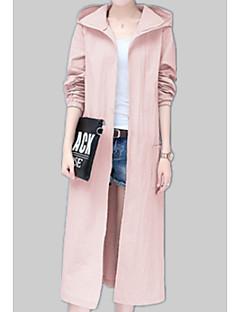 billige Kvinder Overtøj-Trykt mønster, Dame Ensfarvet / Blomstret mønster Trenchcoat