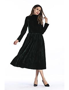 billige Nytt i kjoler-Dame Ferie / Arbeid Fløyel Tynn Swing Kjole Rullekrage Midi