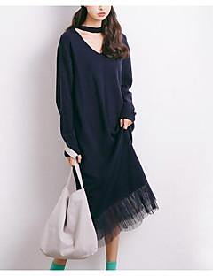 baratos Suéteres de Mulher-Mulheres Manga Longa Algodão Carregam - Sólido Algodão