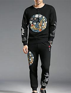 baratos Abrigos e Moletons Masculinos-Homens Básico activewear Set Sólido