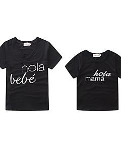 billige Sett med familieklær-Baby Mamma og meg Bokstaver Kortermet T-skjorte