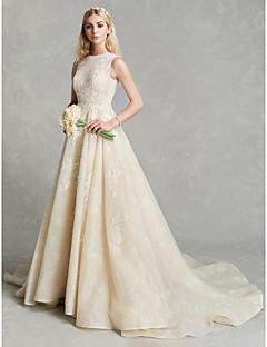 billiga Brudklänningar-A-linje Prydd med juveler Kapellsläp Spets / Tyll Bröllopsklänningar tillverkade med Applikationsbroderi av LAN TING BRIDE® / Genomskinliga
